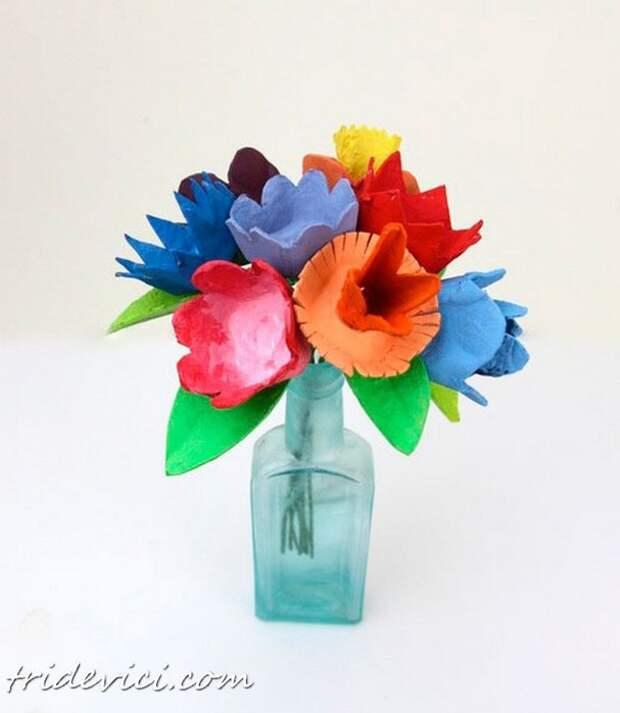 Цветы из яичных лотков своими руками!