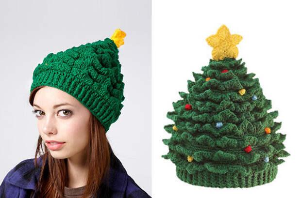 Шапка-елочка вязание, новый год, подарки
