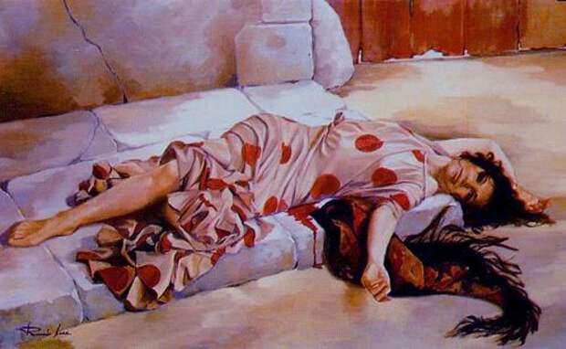 Художник Ricardo Sanz. Картина женщин маслом четырнадцатая