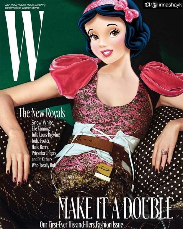 Если бы принцессы Диснея были гламурными моделями или горячие знаменитости с головами диснеевских принцесс