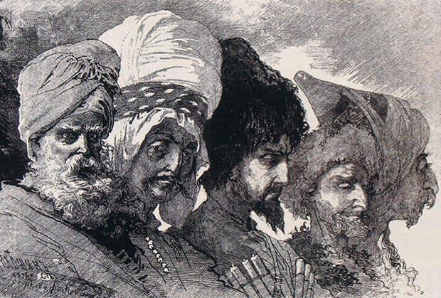 М. Микешин. Два курда-чертопоклонника (езиды), кабардинец, чеченец и курд-магометанин из окрестностей Вана. Рисунок 1876 года