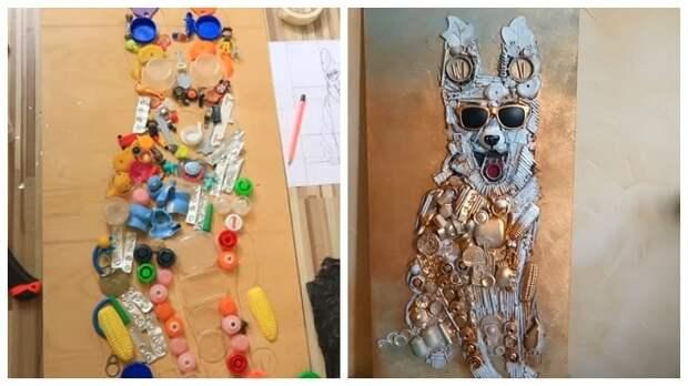 Мелкий пластиковый мусор отличный материал для крутой идеи. Ваш интерьер преобразится