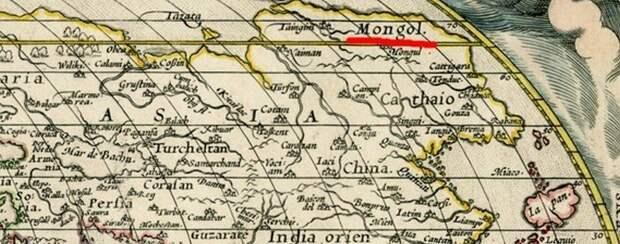 Увеличенный фрагмент показывающий расположение истинной Монголии