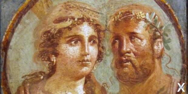 Геракл и Омфала, римская фреска, 45–7...