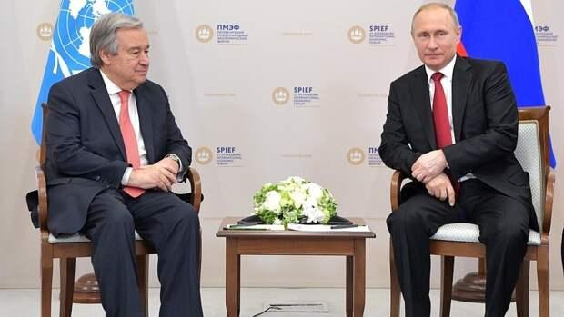 Генсек ООН выразил благодарность России за поддержку