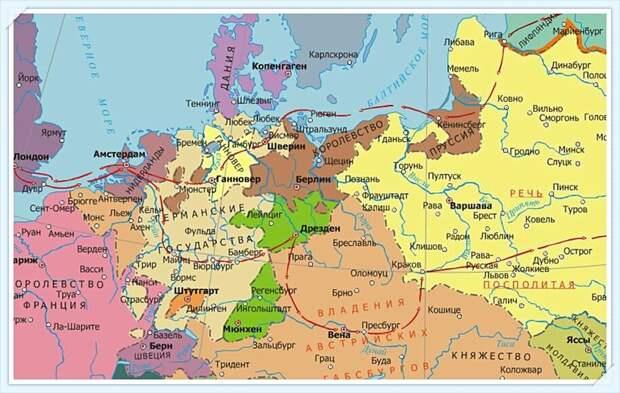 Карта путешествия Петра I по Европе во время Великого посольства