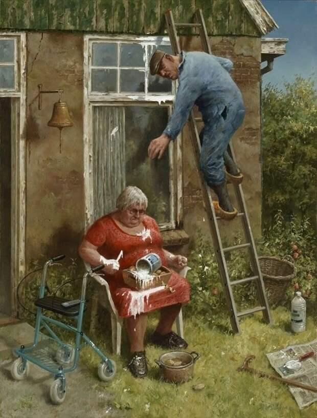 Хулиганистые и задиристые пенсионеры на картинах Мариуса ван Доккума