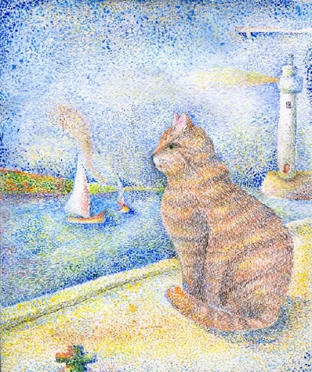 Кот в стиле Жоржа Сёры.