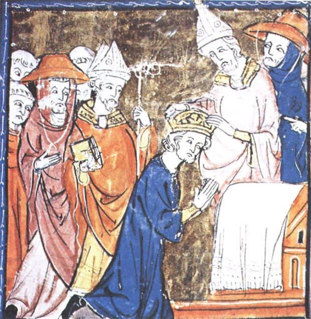 В базилике Святого Петра папа Лев III возлагает императорскую корону на голову Карла.