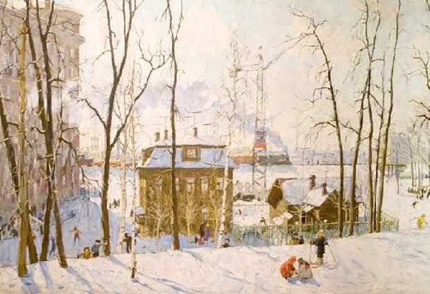 На окраине. Станция Ланская.  Холст, масло. Автор: Эдвард Выржиковский.