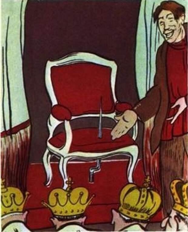 Не угодно ли присесть на престол. Карикатура из журнала Бич 1917