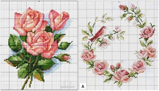 подушка с вышивкой крестом, подборка схем для вышивки крестом, роза, розы, цветы, букет роз,