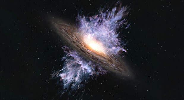 Астрономы обнаружили галактический ветер, вызванный черной дырой