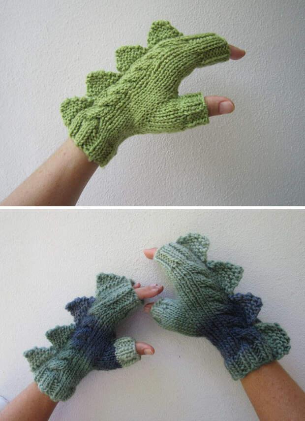 Перчатки-динозаврики вязание, новый год, подарки