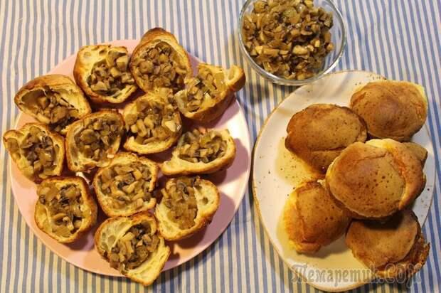 Поповеры с грибной начинкой. Простые булочки из блинного теста