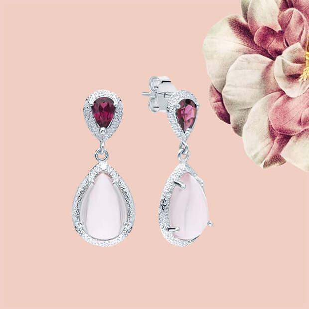 Лучшие украшения с розовыми камнями в подарок на 8 Марта