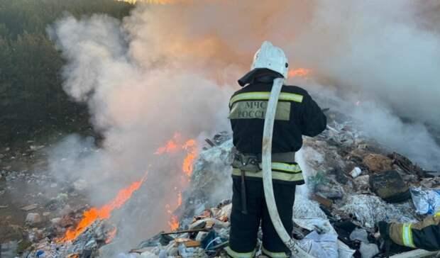 Пожар на площади 600 квадратных метров охватил мусорный полигон под Екатеринбургом