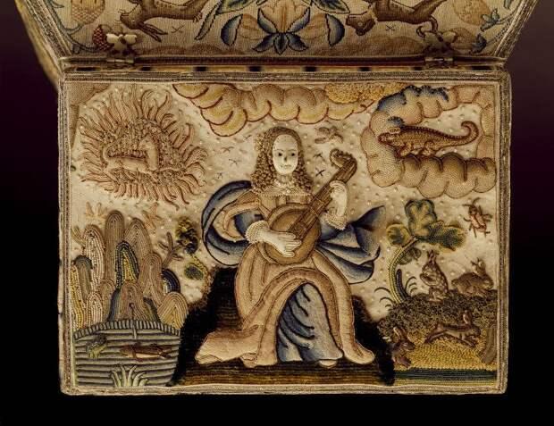 Шкатулка для рукоделия, вышитая 11-летней девочкой эпохи Стюартов. 1671 год, Англия.
