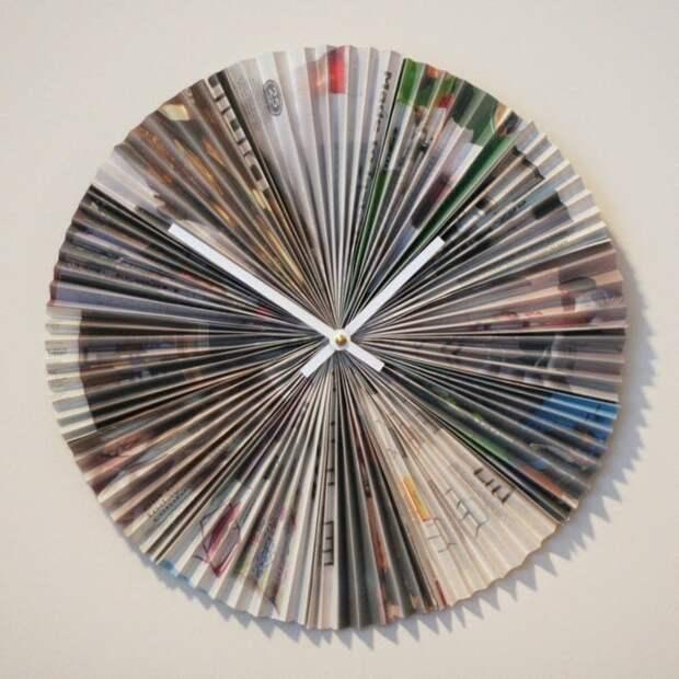 1. Как мы уже однажды заметили, часы можно сделать из чего угодно, а в соответствующей обстановке они выглядят очень стильно газеты, идеи, макулатура, на все руки мастер, поделки, своими руками