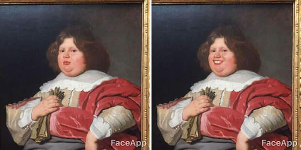Парень ходит по музеям и «смешит» старинные портреты с помощью приложения FaceApp