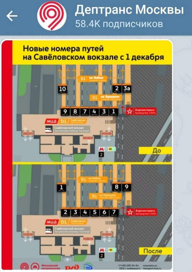Опубликована инфографика новой нумерации путей Савеловского вокзала – Дептранс