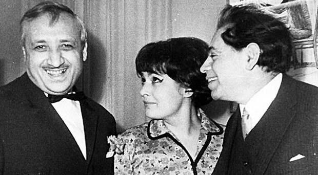 Катанян-младший с режиссером Еленой Спиридоновой и Аркадием Райкиным (1967 г.)