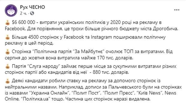 Пост Чесно в Facebook