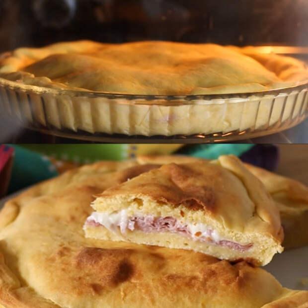 пирог с ветчиной и сыром в духовке