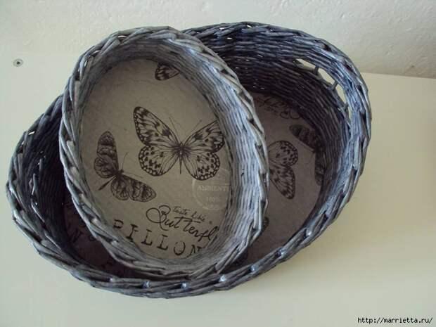 Плетение из газет. Корзинка для пасхальных яиц. Мастер-класс (10) (700x525, 219Kb)