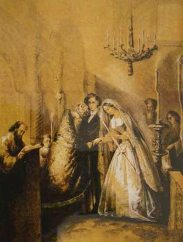 Венчание М. А. Бек (Столыпиной ) с П. П. Вяземским, 17 октября 1848. худ. неизвестен. Источник: WikiCommons