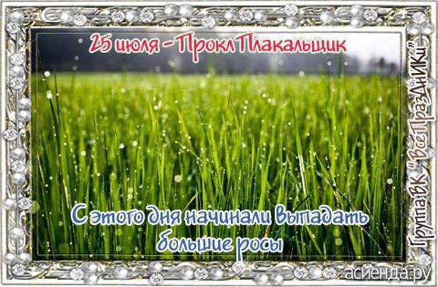 Народный календарь. Дневник погоды 25 июля 2021 года