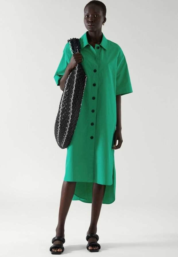 Платье-рубашка трапециевидной формы COS в ярко-зеленом цвете