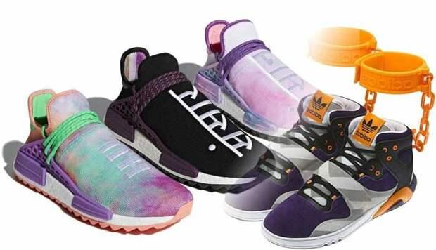 Слева направо: Кроссовки Holi. \ «Кандальные кроссовки» Adidas. \ Фото: google.com.