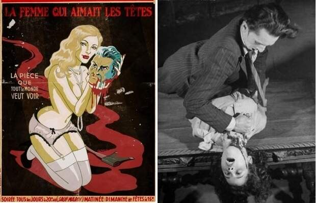 Афиша и жуткая сценка в «Гран-Гиньоль» - пожалуй, самый необычном театре Монмартра