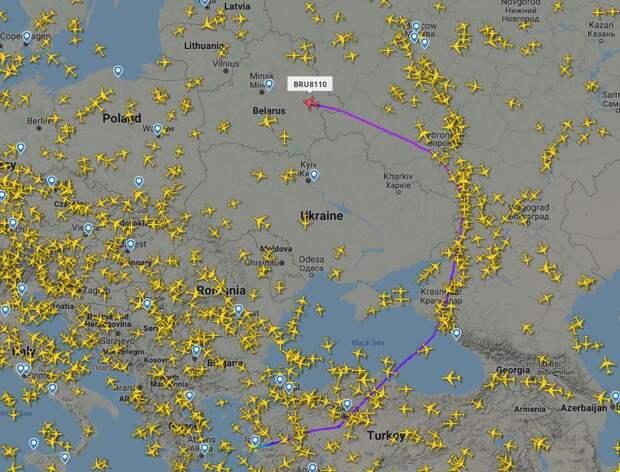 Над Беларусью и Украиной авиатрафик минимальный