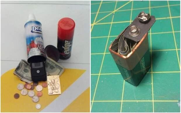Даже крошечные батарейки или аэрозоли сгодятся для создания мини-сейфа.