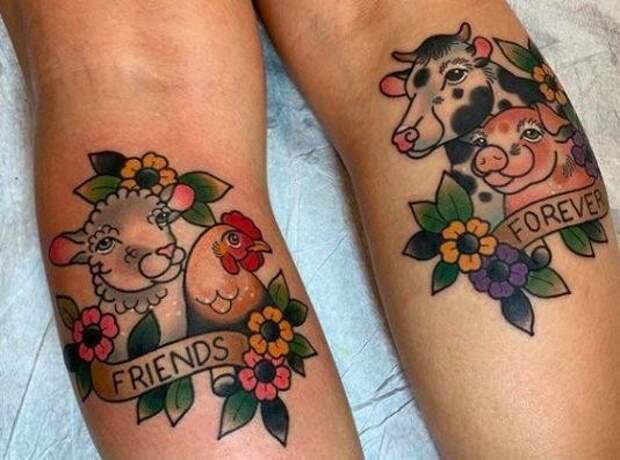 22 татуировки для веганов ивегетарианцев