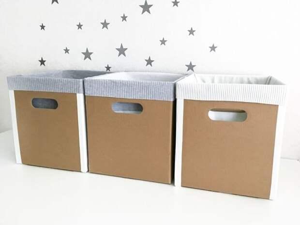 Картинки по запросу Вторая жизнь старых вещей. Ящики для хранения из коробок от подгузников и кофт. DIY / Мастер-класс
