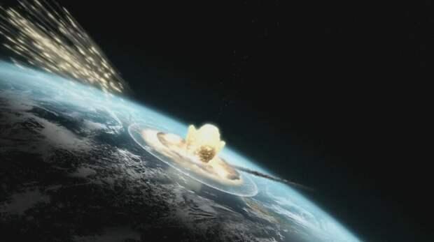 удар астероида (коллаж)