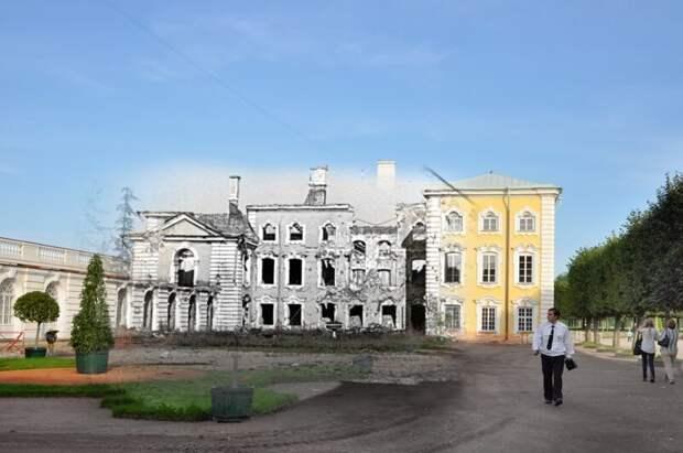 Петергоф 1943-2011 Большой дворец со стороны Верхнего парка блокада, ленинград, победа