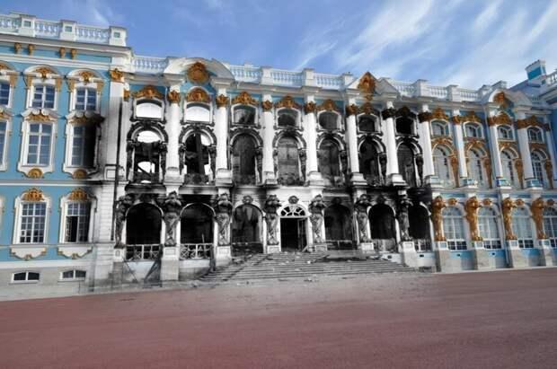 Пушкин 1941-2011 Екатерининский дворец после прихода оккупантов блокада, ленинград, победа