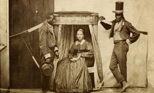 Женщина на носилках с двумя рабами. Бразилия, 1860 год (Instituto Moreira Salles)