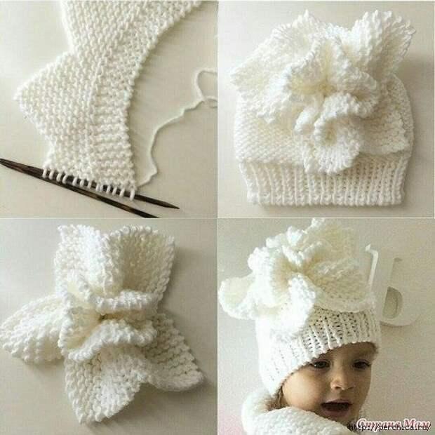 Вяжем эффектный цветок — украшение для шапочки спицами