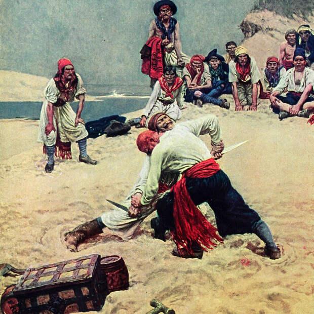 Делёжка. Иллюстрация из «Книги Пиратов» Говарда Пайла