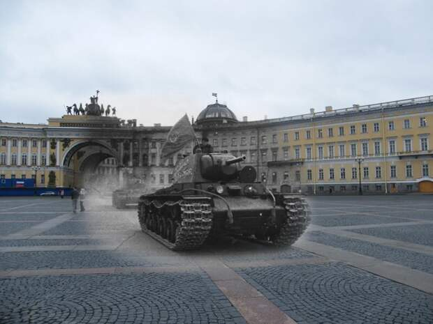 Ленинград 1941-2009 Дворцовая площадь. Тяжелый танк КВ-1 блокада, ленинград, победа