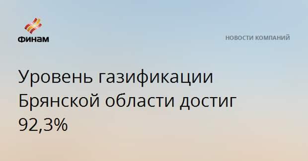 Уровень газификации Брянской области достиг 92,3%