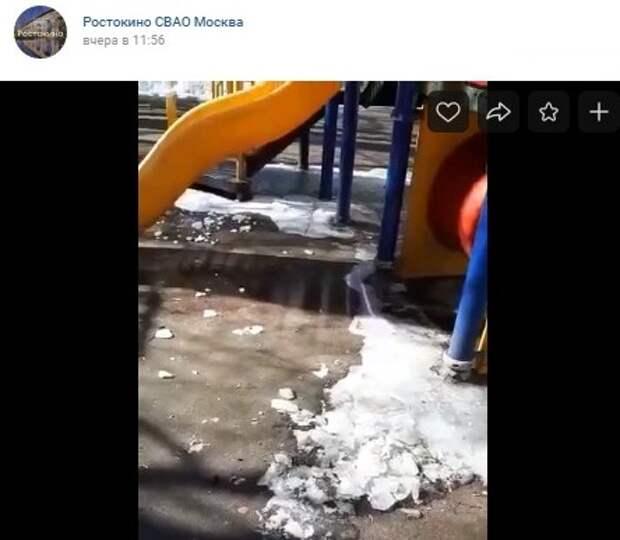 Детскую площадку на Будайской расчистят ото льда — управа