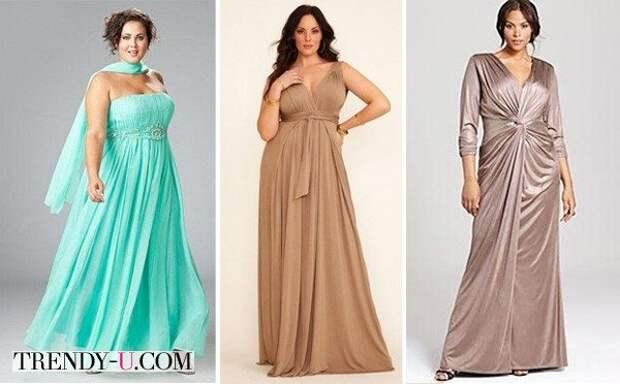 Нарядные платья большого размера в светлых тонах