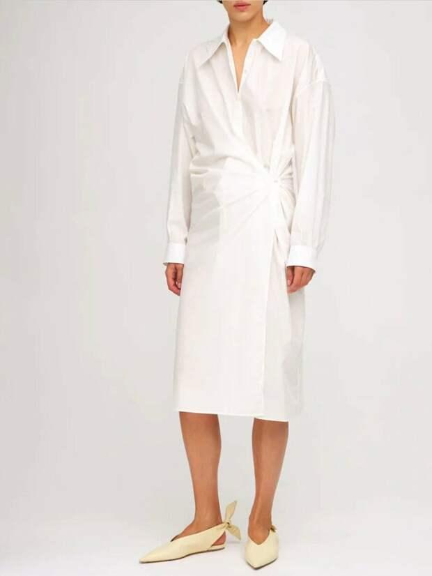 Платье-рубашка миди из крученого хлопкового поплина Lemaire