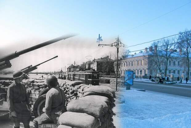 Ленинград 1941-2009 Зенитный расчет на Университетской набережной блокада, ленинград, победа